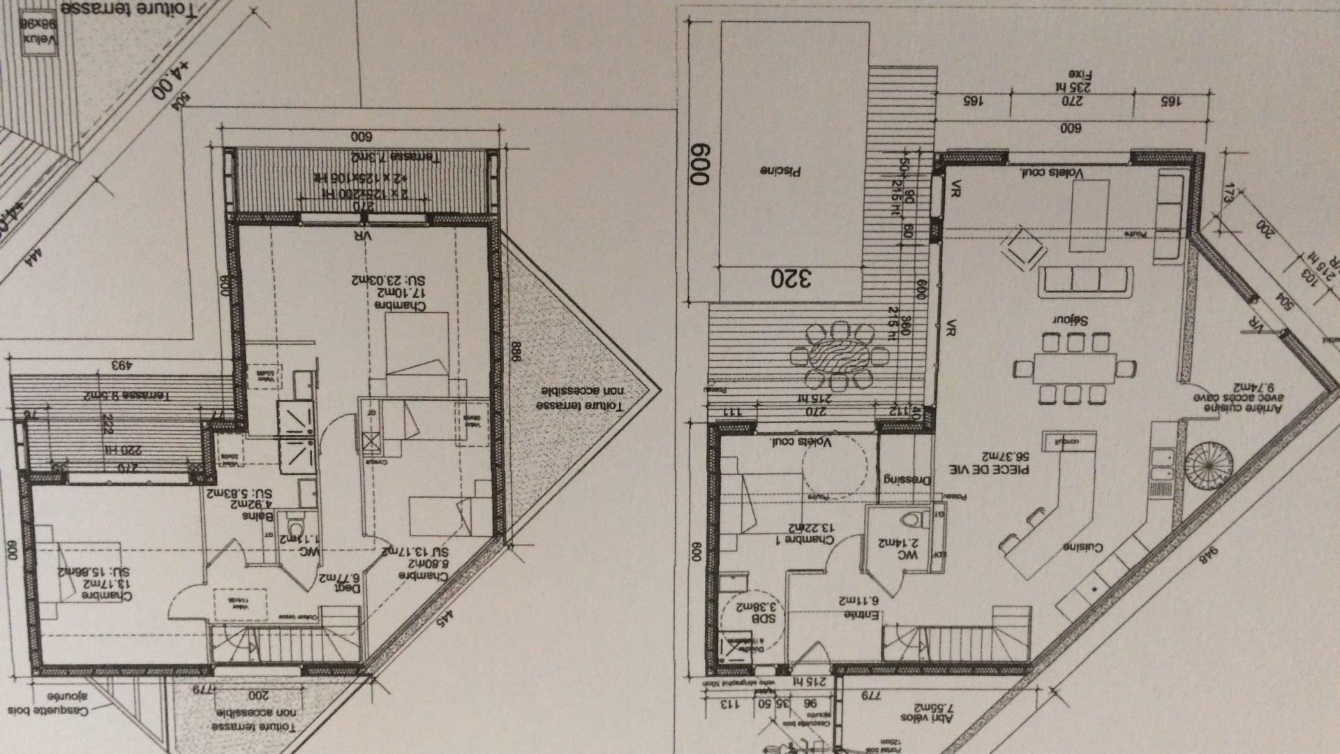 Plan villa en construction